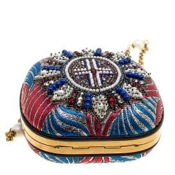 Gucci Multicolor Metallic Brocade Broadway Faux Pearl Embellished Minaudiere Clutch