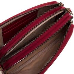 Gucci Red Matelasse Leather GG Marmont Triple Zip Chain Bag