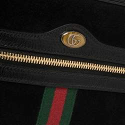 Gucci Black Suede and Patent Leather GG Ophidia Belt Bag