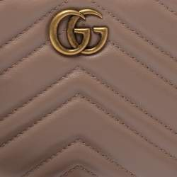 Gucci Pink Leather GG Marmont Wrist Wallet