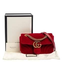 Gucci Red Matelasse Velvet Mini GG Marmont Shoulder Bag