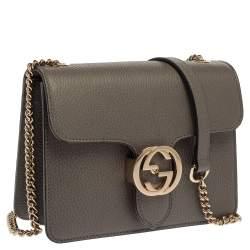 Gucci Grey Leather Interlocking G Shoulder Bag