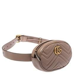 Gucci Beige Matelasse Leather GG Marmont Belt Bag