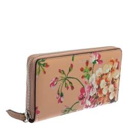 محفظة غوتشي سحاب ملتف جلد مطبوع أزهار شنغهاي متعدد الألوان