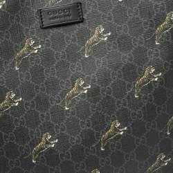Gucci Black GG Supreme Canvas Tiger Tote