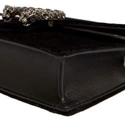 Gucci Black Velvet and Leather Super Mini Dionysus Crossbody Bag