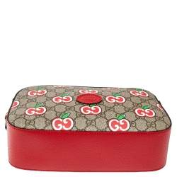 Gucci Red Leather and GG Supreme Apple Motif Camera Bag