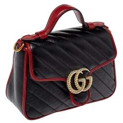 Gucci Black/Red Matelasse Leather Mini GG Marmont Torchon Top Handle Bag