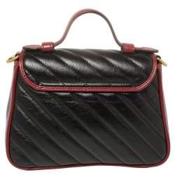 Gucci Black Diagonal Quilt Leather Mini GG Marmont Torchon Top Handle Bag