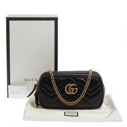 Gucci Black Matelasse Leather Mini GG Marmont Camera Bag
