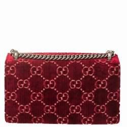 Gucci Black/Burgundy GG Velvet and Patent Leather Small Dionysus Shoulder Bag