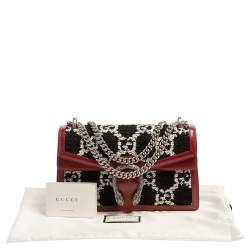 Gucci Black/Red Tweed and Leather Small Dionysus Shoulder Bag