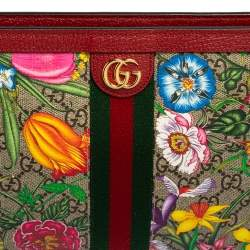 Gucci Multicolor Flora GG Supreme Coated Canvas and Leather Ophidia Pouch