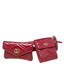 Gucci Red Matelassé Leather GG Marmont 2.0 Multi Belt Bag