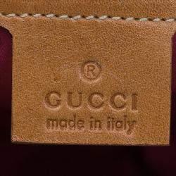 Gucci Beige Raffia Floral Print Bamboo Hobo