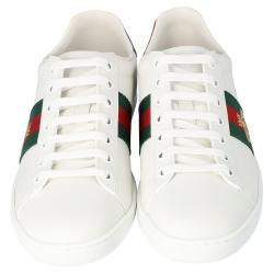 Gucci White Leather Embroidered Bee Ace Low-Top Sneakers Size 36
