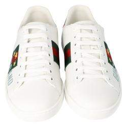 Gucci White Leather Gucci Band Embroidery Ace Low-Top Sneakers Size 37
