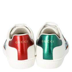 Gucci White Leather Gucci Band Embroidery Ace Low-Top Sneakers Size 38