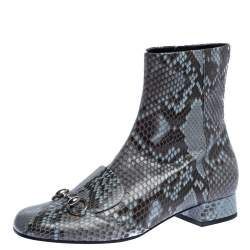 Gucci Grey/Brown Python Leather Horsebit Ankle Boots Size 40