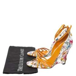 Gucci Multicolor Floral Print Satin and Lizard  Bamboo Wedge Sandals Size 37.5