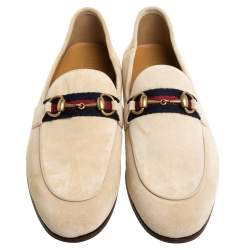 Gucci Beige Suede Web Horsebit Slip On Loafers Size 42