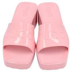Gucci Light Pink Rubber Slide Sandal Size 36