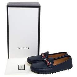 Gucci Navy Blue Leather Web Horsebit Loafers Size 40.5