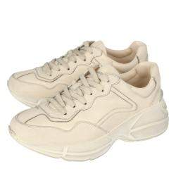 Gucci White/Ivory Distressed Leather Rhyton Sneakers Size 36