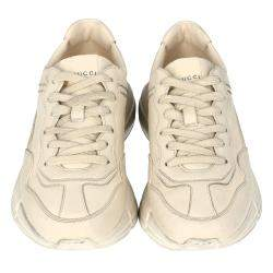 Gucci White/Ivory Distressed Leather Rhyton Sneakers Size 39
