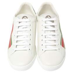 Gucci White Leather New Ace Interlocking G Low Top Sneakers Size 38