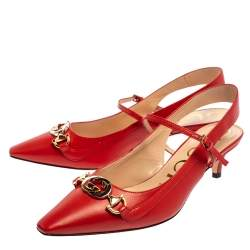 Gucci Red Leather Zumi Slingback Pumps Size 37