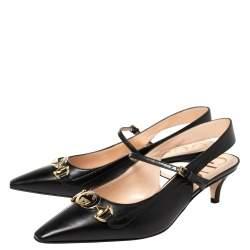 Gucci Black Leather Interlocking G Horsebit Zumi Slingback Sandals Size 37.5