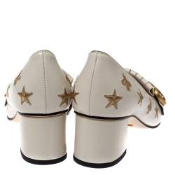 Gucci White Leather GG Star Marmont Fringe Pumps Size 38