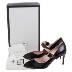 Gucci Black Leather Sylvie Mary Jane Pumps Size 38