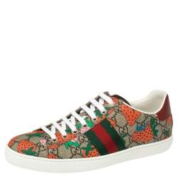 Gucci Brown GG Canvas Ace Strawberry Sneakers Size 38