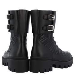 Gucci Black Matelassé Leather Frances GG Platform Combat Boots Size EU 35