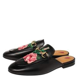 Gucci Black Floral Embroidered Leather Horsebit Princetown Flat Mules Size 38
