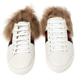 Gucci White Leather and Fur Ace Embroidered Bee Low Top Sneakers Size 37