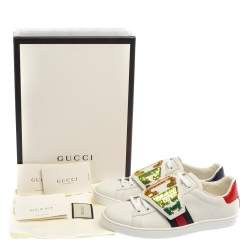 Gucci  White Leather Ace Web Low Top Sneakers Size 37