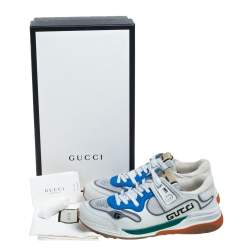 Gucci White Leather and Mesh Ultrapace Low Top Sneakers Size 38