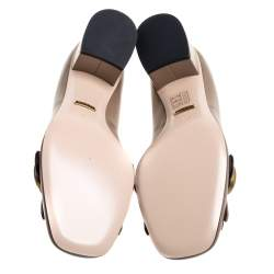 Gucci Dark Beige Leather GG Marmont Fringe Pumps Size 38