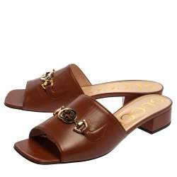 Gucci Brown Leather Zumi GG Interlocking Flat Slides Size 40.5