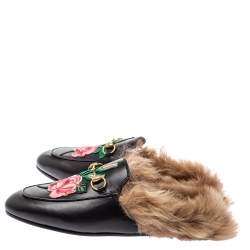 Gucci Black Floral Embroidered Leather and Fur Lined Prince town Mules Size 39