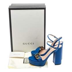 Gucci Blue Leather GG Marmont Ankle Strap Sandals Size 35.5