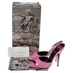 Gucci Pink Leather Scarlet Slide Sandals Size 39