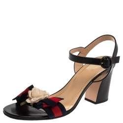 Gucci Black Leather  Web Bow Flower Sandals Size 41