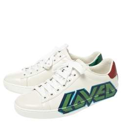 Gucci White Leather Ace Loved Low Top Sneakers Size 35