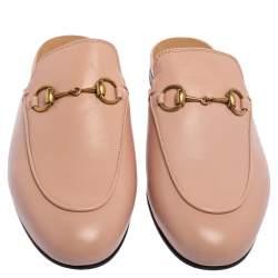 Gucci Pink Leather Princetown Horsebit Flat Mules Size 37