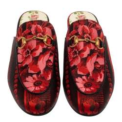 Gucci Red/Black Fabric Garden Princetown Flat Mules Size 35