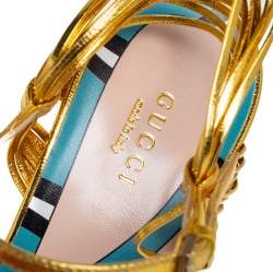 Gucci Metallic Gold Leather Strappy Allie Knot Sandals Size 39
